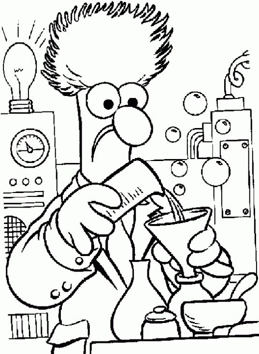 A scientist working in his lab in science coloring page