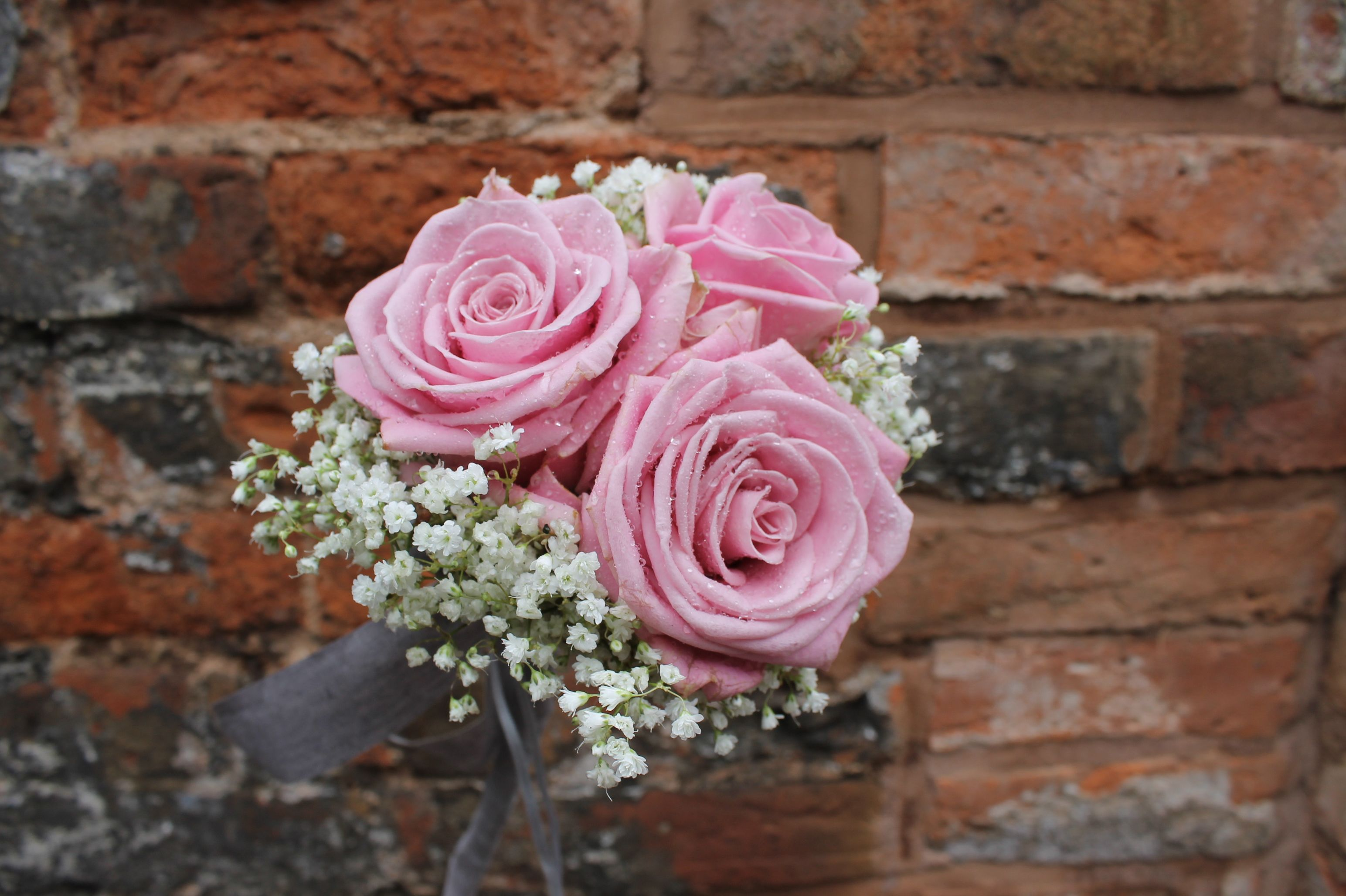 Bridesmaids Floral Wand Dusky Pink Roses Encased In A Collar Of