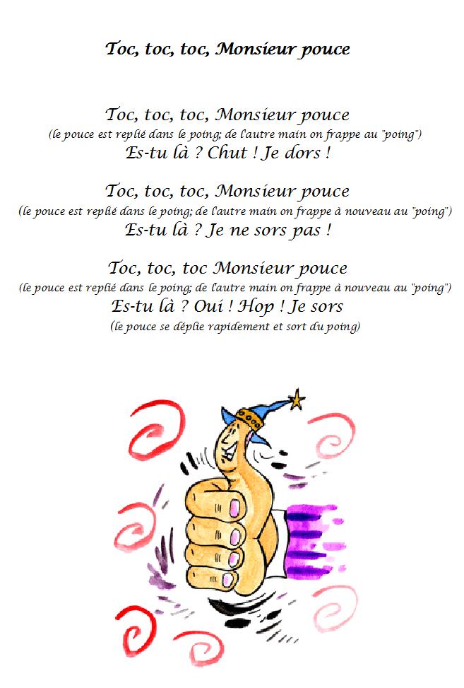 Comptine Monsieur Pouce