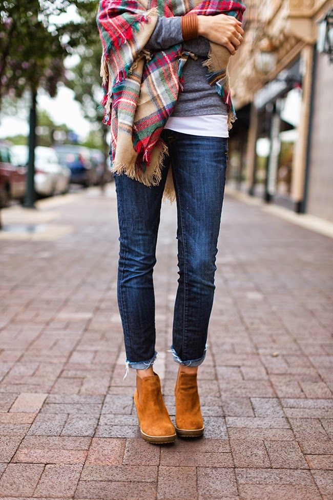 Plaid blanket scarf, gray tee, dark denim and ankle boots