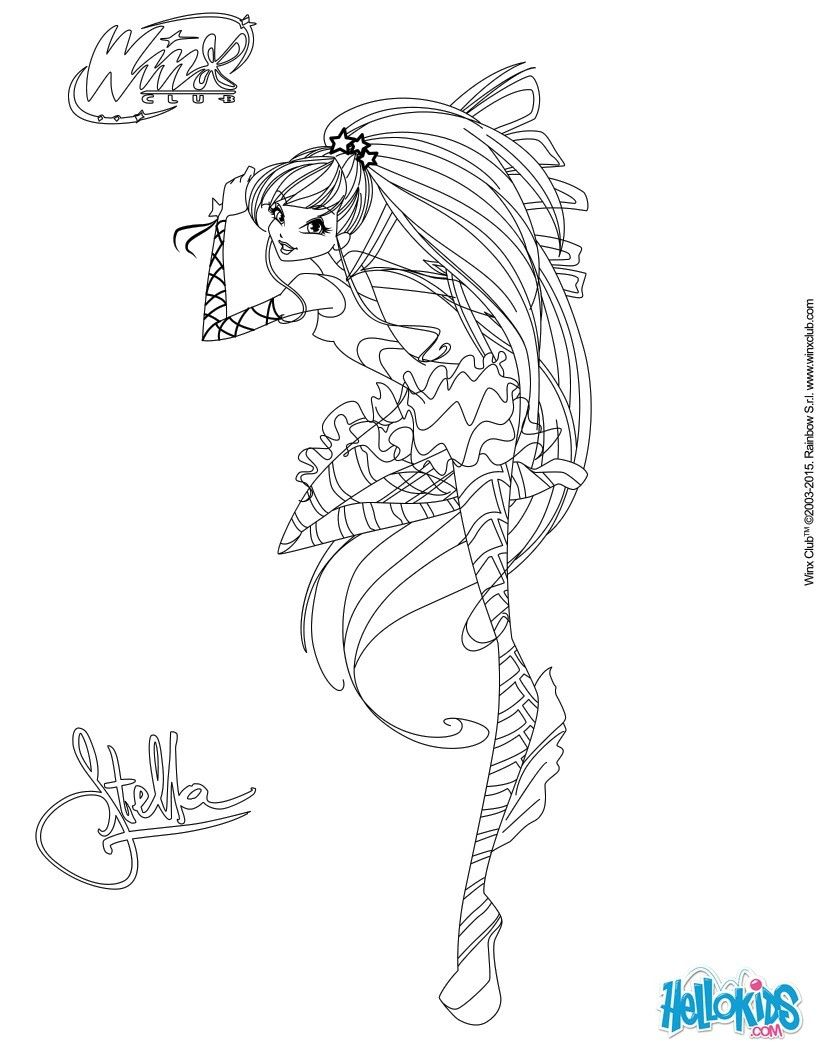 Interactive Coloring Pages For Adults : Stella transformation sirenix coloring page