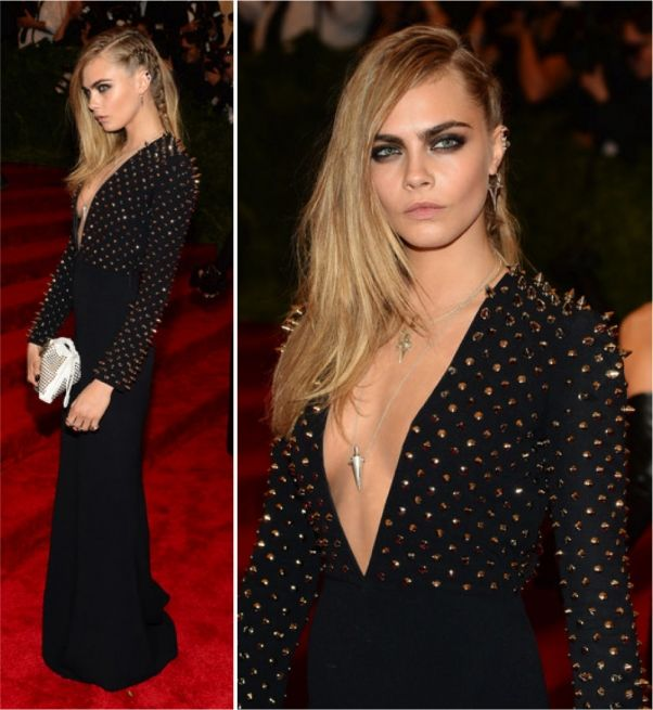 Love Cara in this stunning and studded Burberry gown! The Met Gala 2013 Fashion & Beauty Faves.