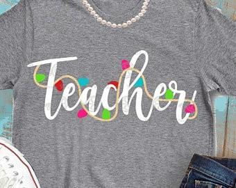 Santa/'s favorite teacher personalized gifts Christmas teacher t-shirts teacher gifts teacher Christmas gifts Teacher Christmas shirt