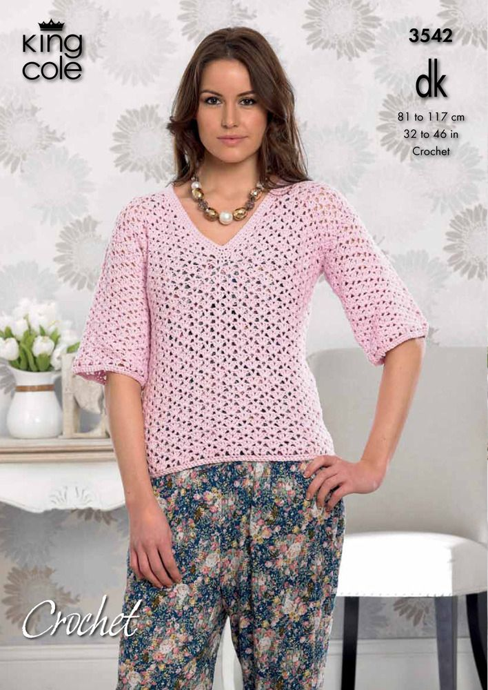 592ce705d Crochet Ladies Cardigan and V-Necked Top in King Cole Cottonsoft DK ...