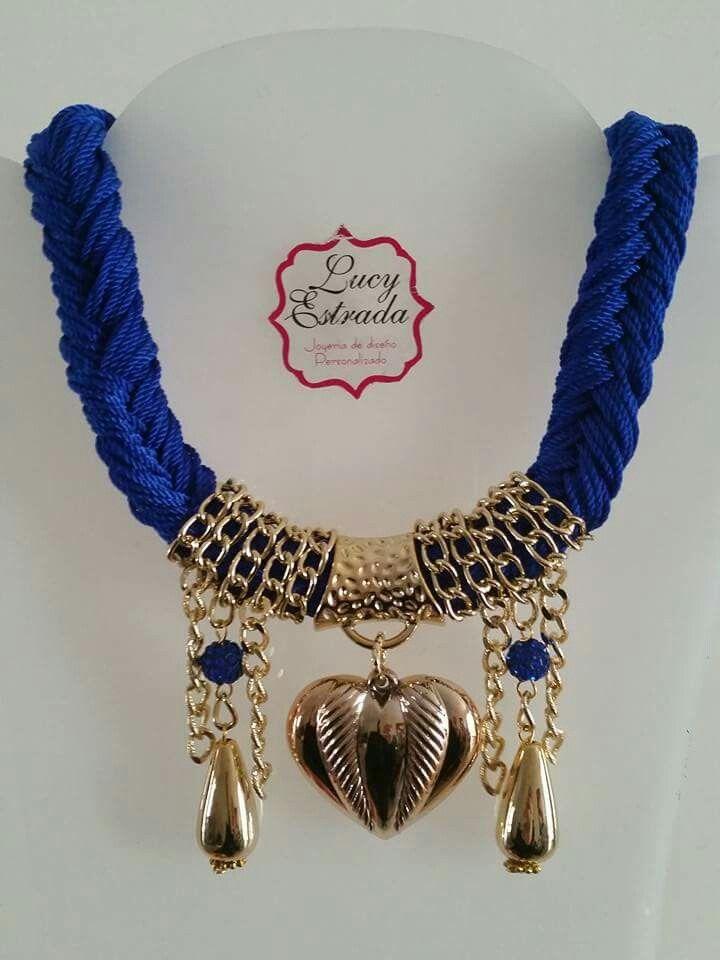 5997a01b46c2 Collar  azul rey  trenza