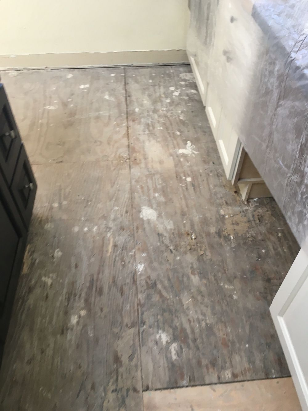 Hardibacker Gone Loose Subfloor More Nails Fixes It Additional 1 2 Inch Plywood On Top Ready For Ditra Heat Floor Remodel Kitchen Flooring Flooring