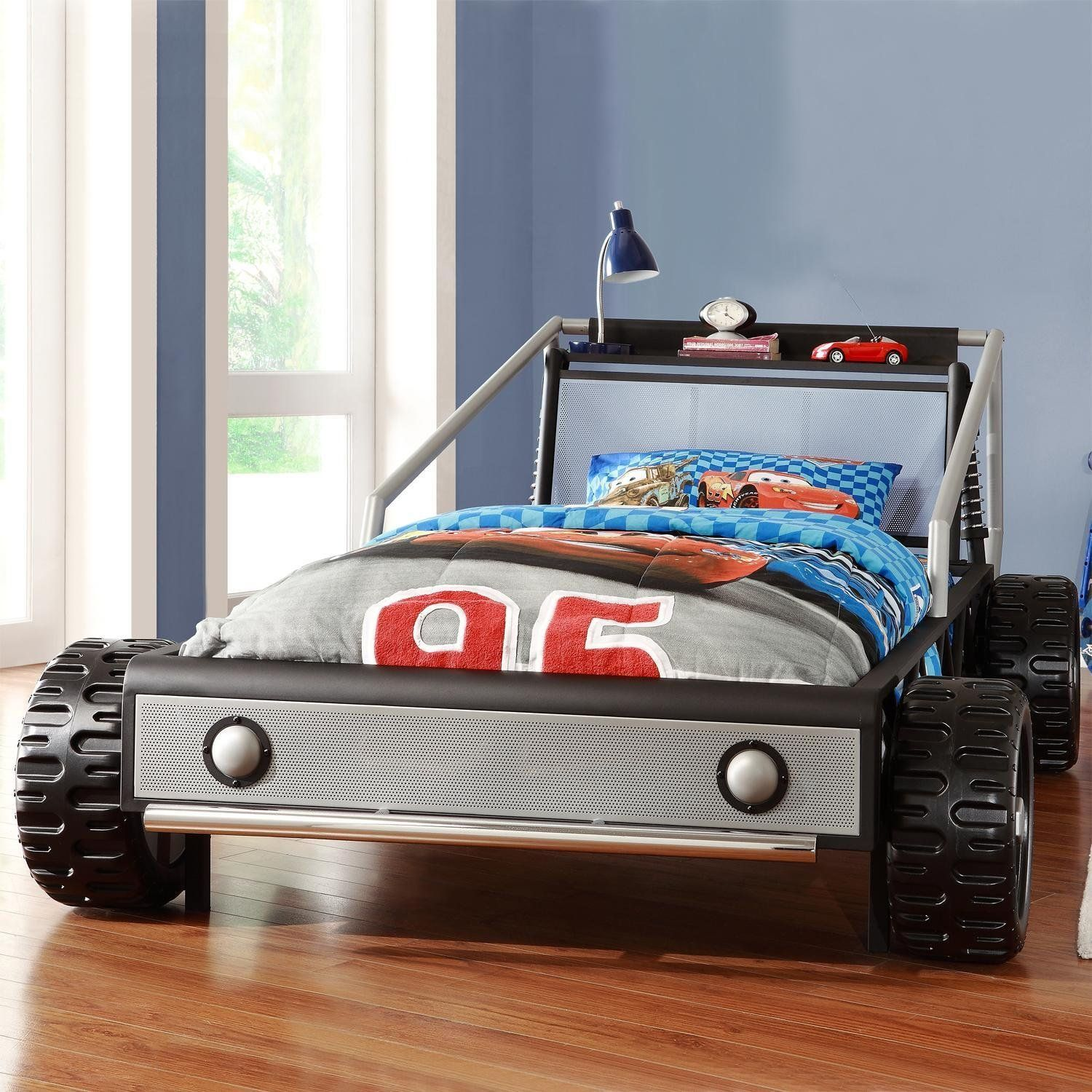 Silver Heavy Metal Twin Size Race Car Bed  Vroom