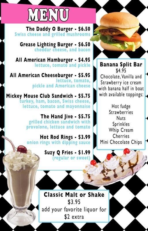 image result for 50 s diner menu templates free download activity