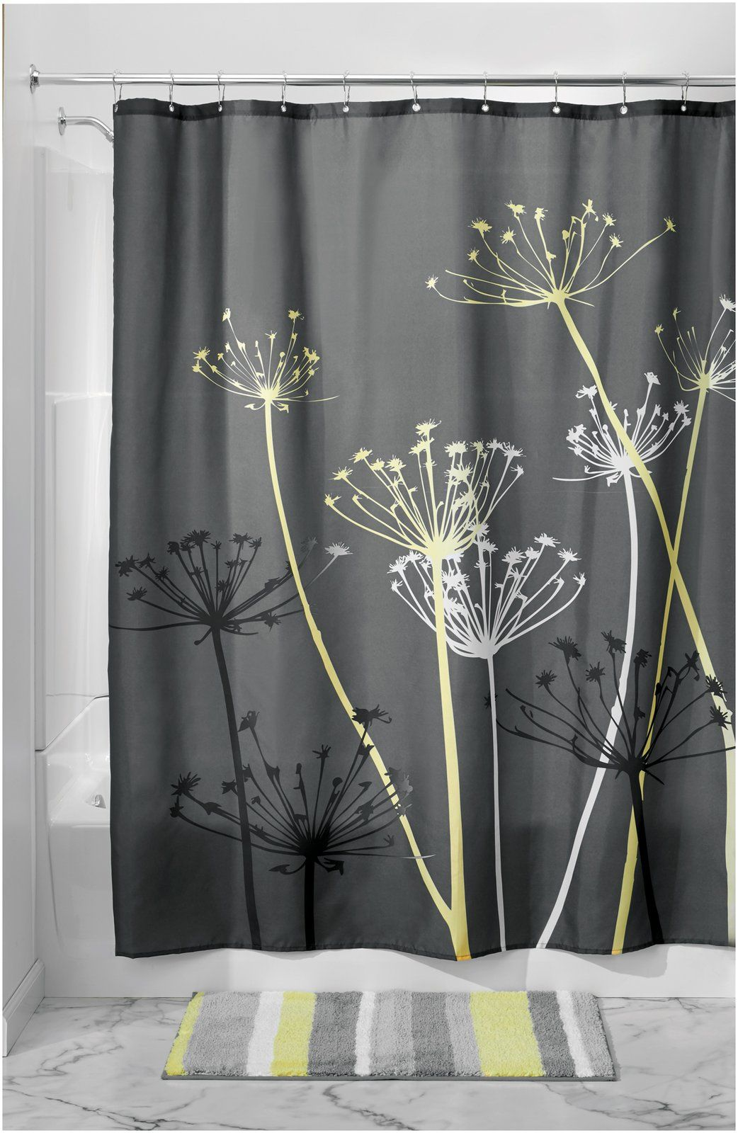 Interdesign Thistle Shower Curtain Gray Yellow Free
