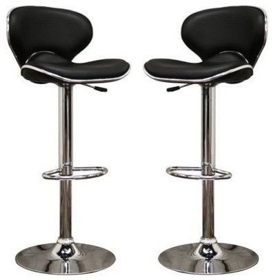 Orion Black Faux Leather Modern Bar Stool - bar stools and counter stools - Mercantila  sc 1 st  Pinterest & Orion Black Faux Leather Modern Bar Stool - bar stools and counter ... islam-shia.org