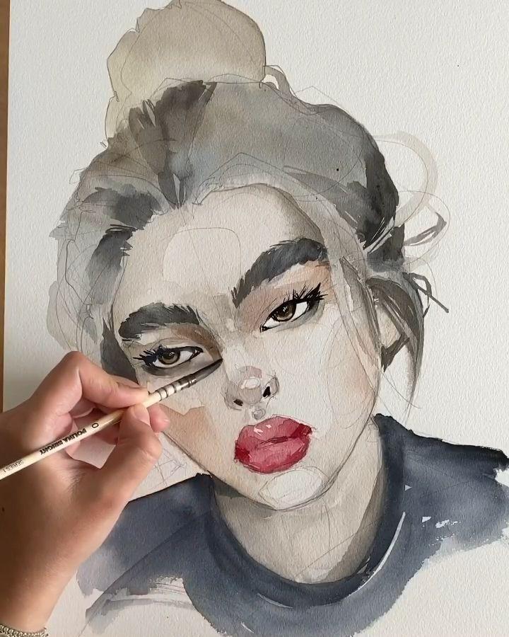 Photo of Portrait aquarelle rapide par Polina Bright