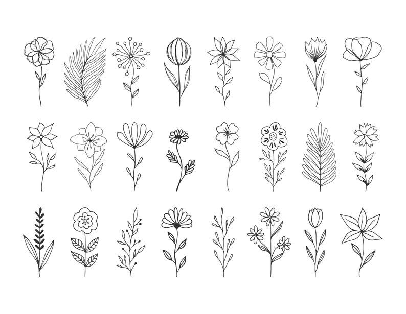 Svg flowers with stems. Hand drawn wedding design.