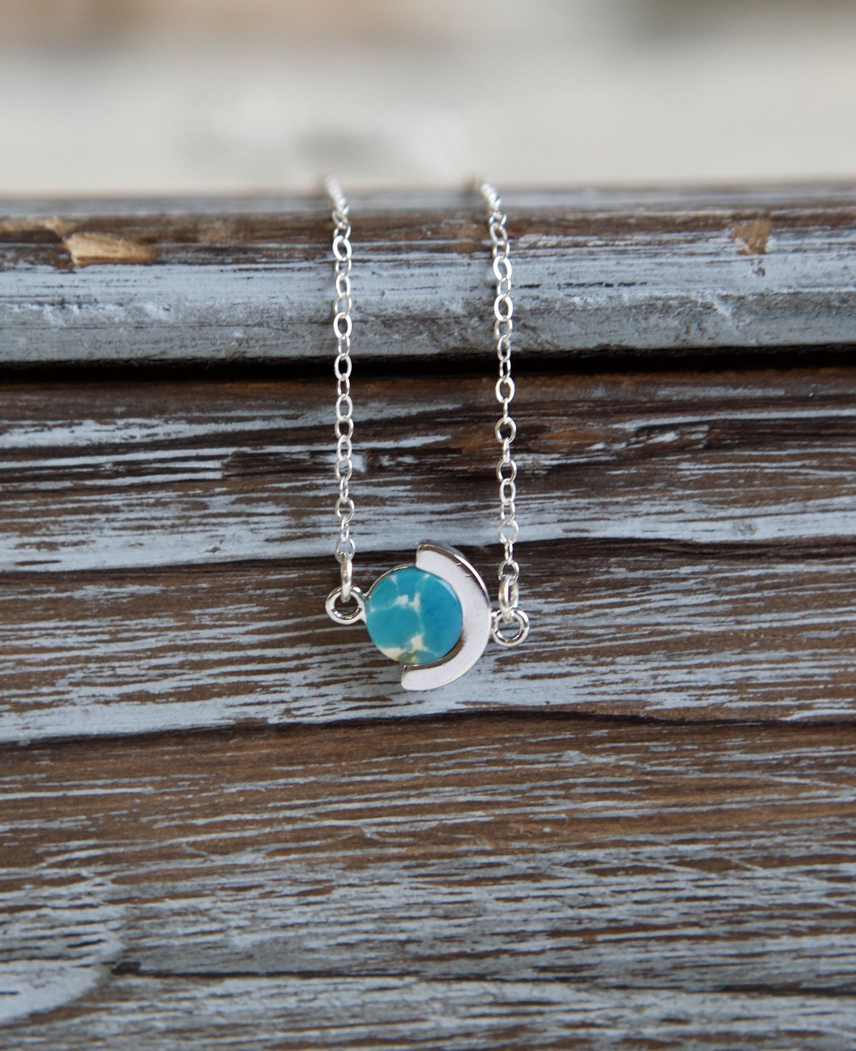 Sky blue marble circular sterling silver