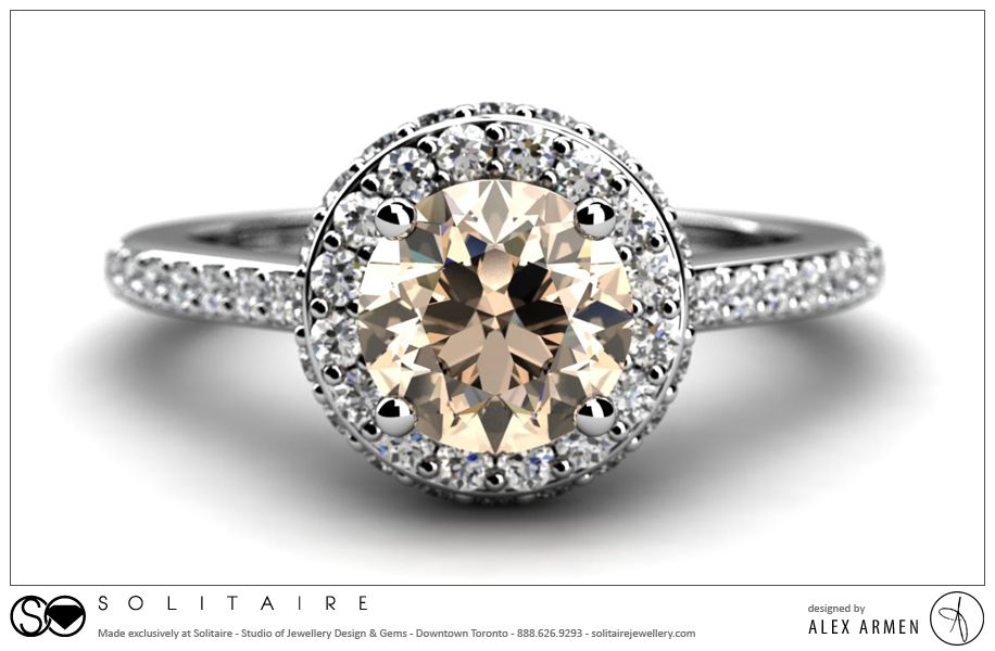 Custom Diamond Halo Engagement Ring customengagementring halo