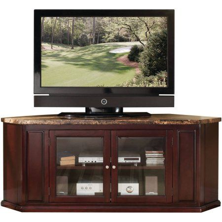 ACME Nevin Faux Marble and Espresso Corner TV Stand for Flat Screen