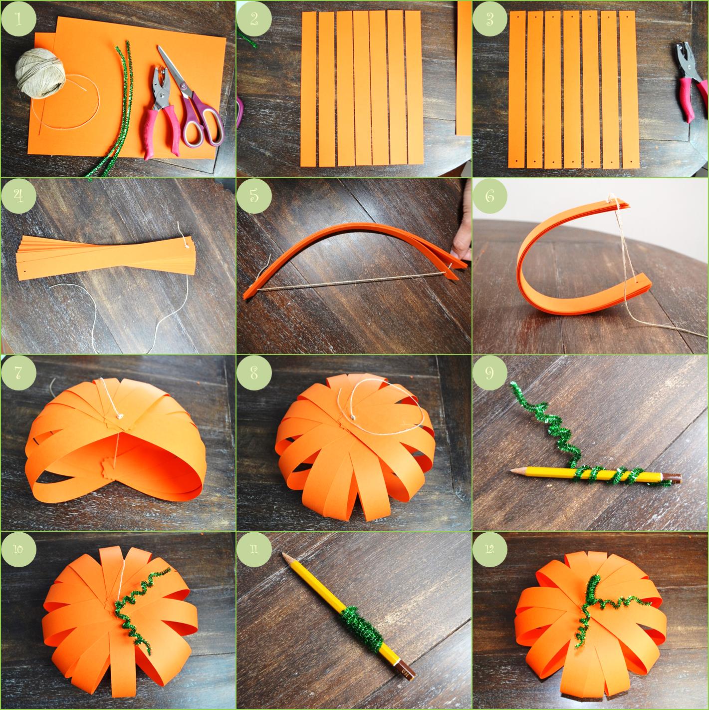 Citrouille en papier - Blog Pluie de confettis   Citrouille en papier, Déco halloween maison ...