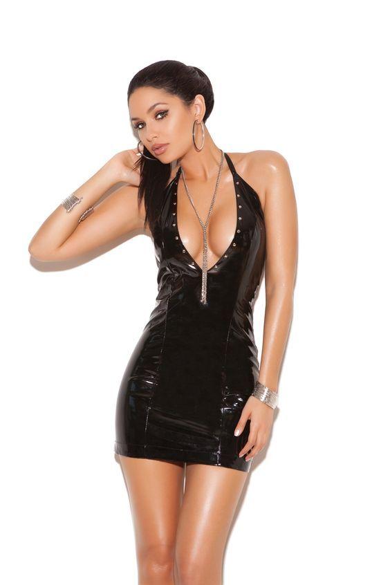 a0cbe617a Sexy Faux Leather Clubwear Women Halter Black Vinyl Lingerie Dress  W8704123. Price  USD12.
