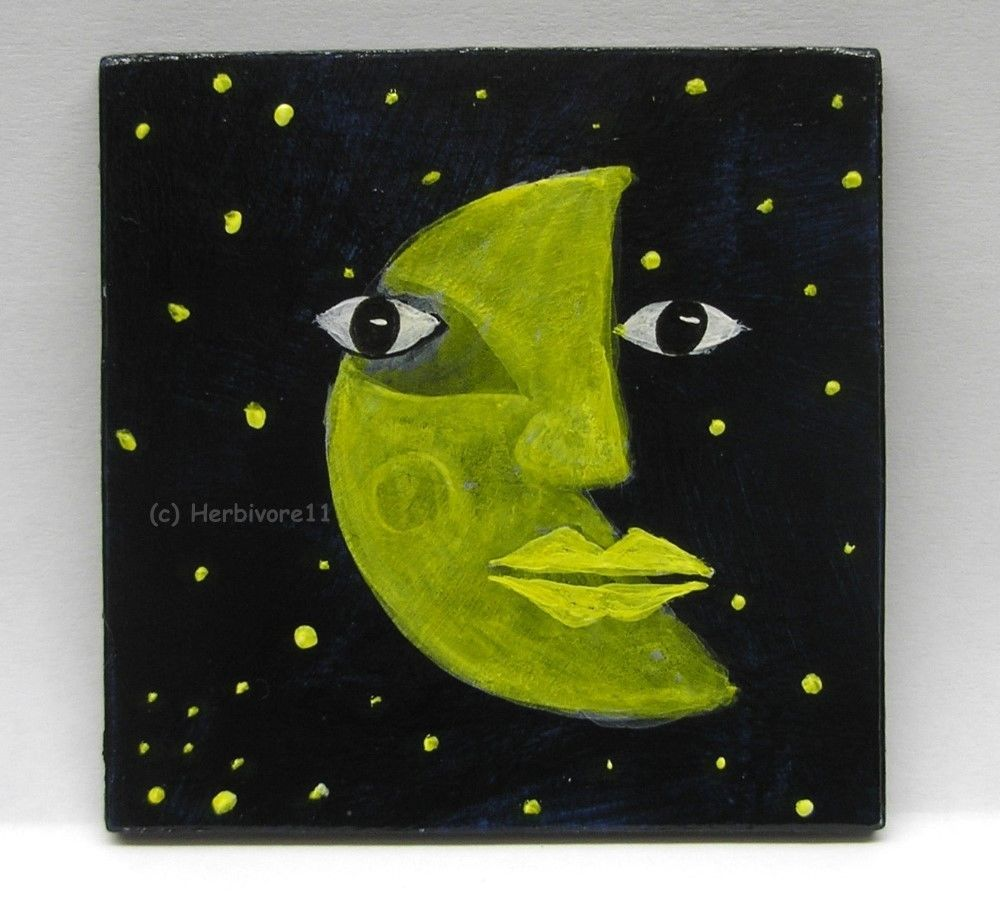 HALBMOND von Herbivore11 Mond Stern Unikat Minibild Inchie kleine Kunst sammeln