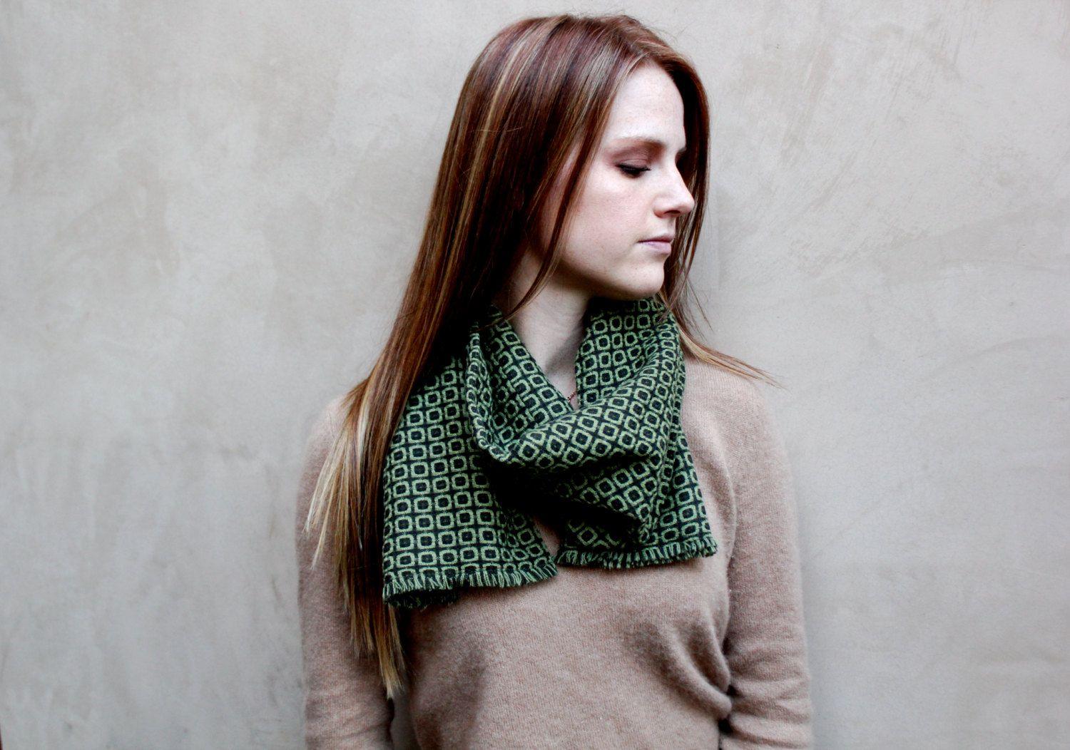 Traditional Scarf, Wrap Scarf, Green, Checkered. $30.00, via Etsy.