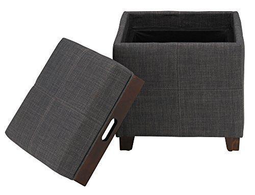 Storage Coffee Table Ottoman Grey Eco Friendly Reversible Tray