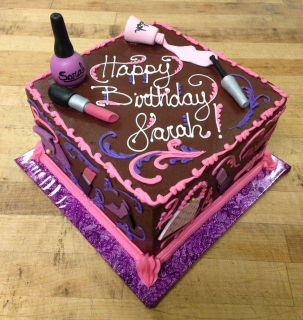 Makeup theme chocolate cake Happy Birthday Sarah CakeDesigns