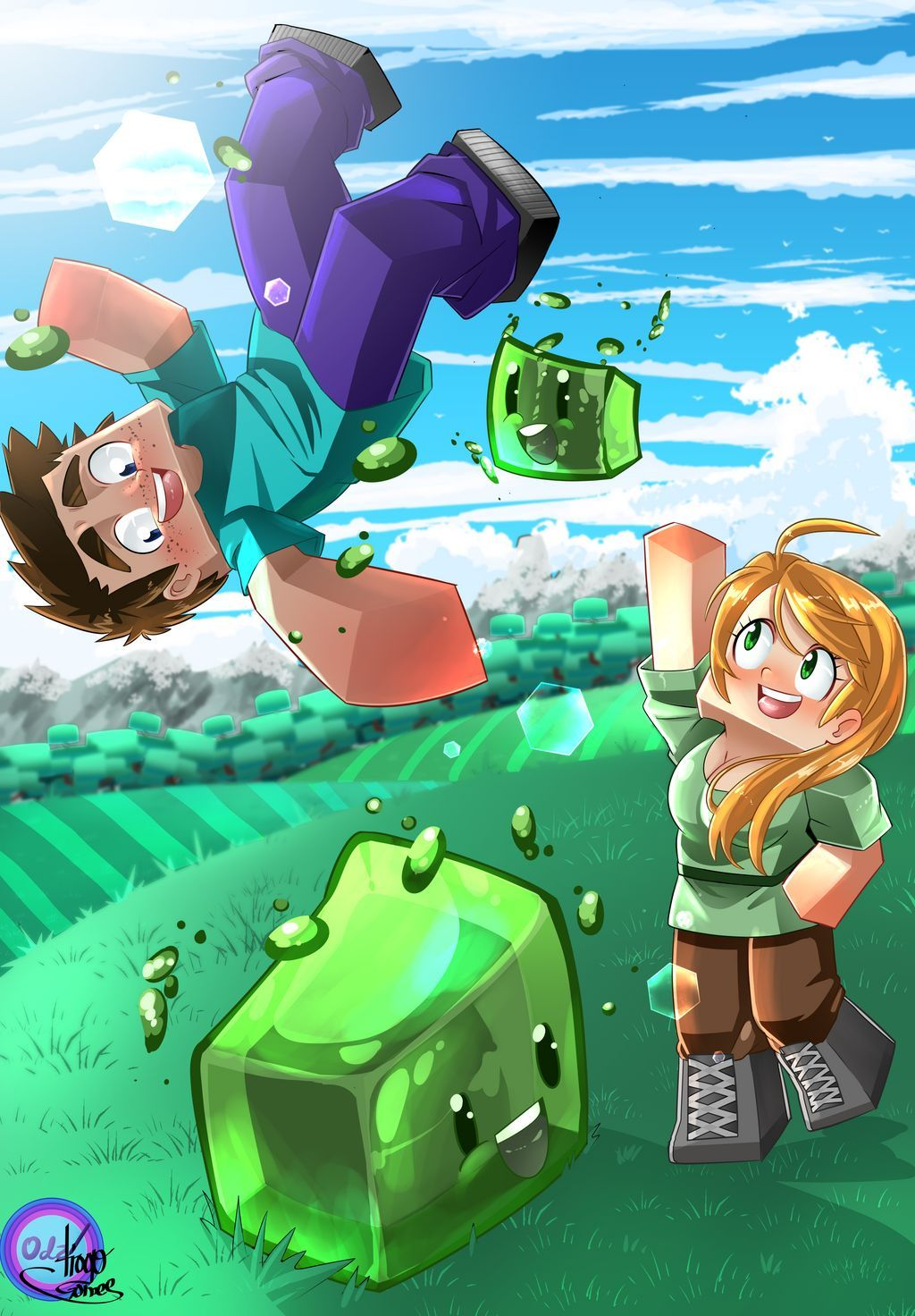 Steve and Alex playing with slimes by B0ss23 on DeviantArt