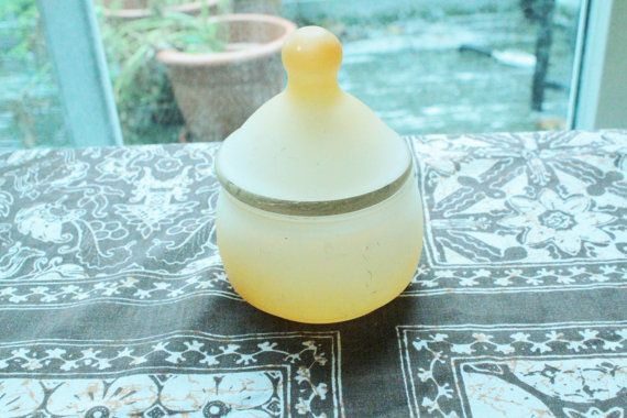 Fab Vintage POWDER JAR  Retro Orange Glass by lisaperrymcquilkin, $6.50 JUST LISTED!!!!