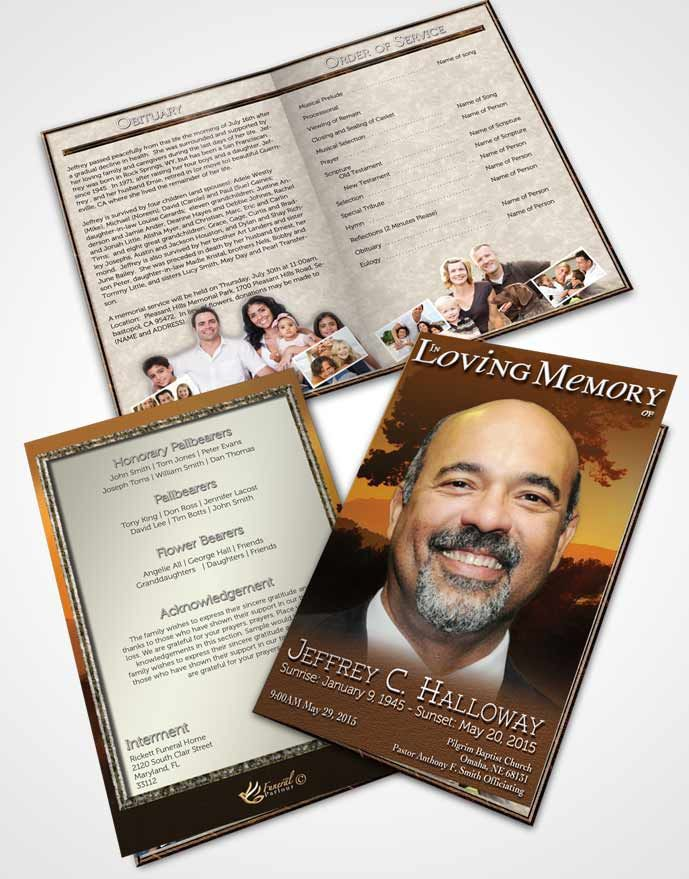 Bifold Order of Service Obituary Template Brochure Distant Summer