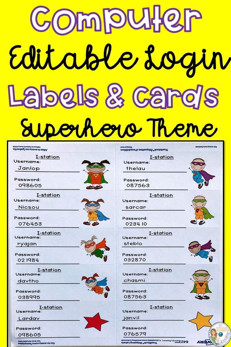 On The Lookout For Computer Labels And Cards To Help Students In Remembering Their Username And Elementary Resources First Grade Activities Student Activities