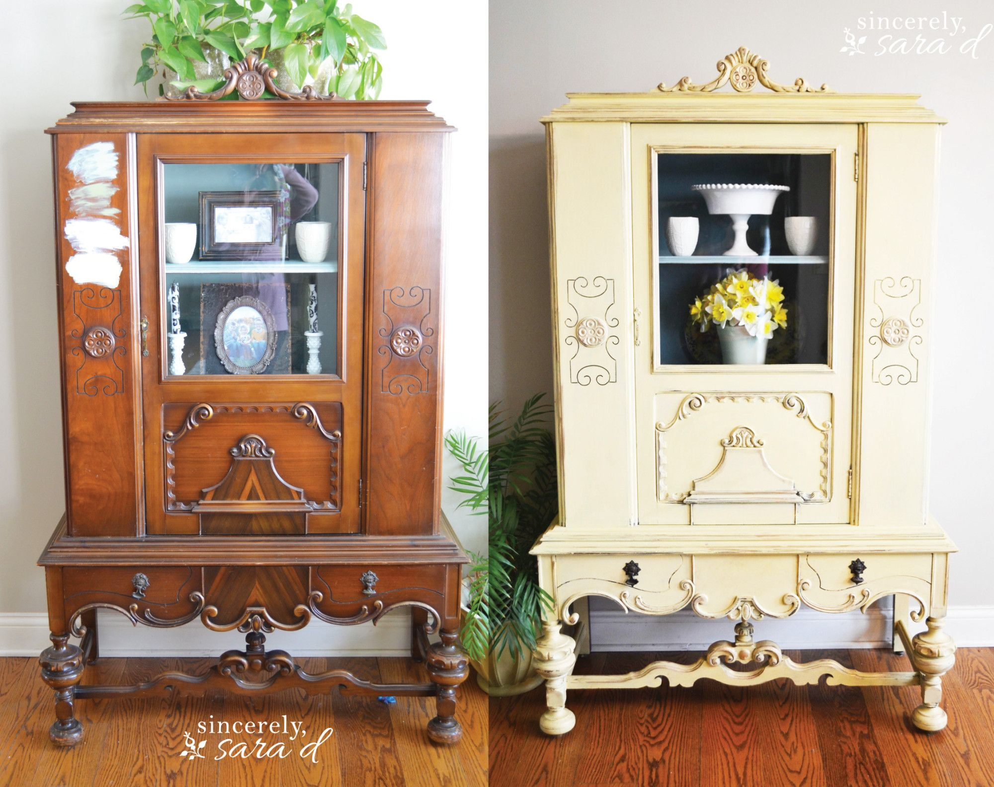 The Yellow Painted Hutch | Muebles viejos, Viejitos y Reciclaje