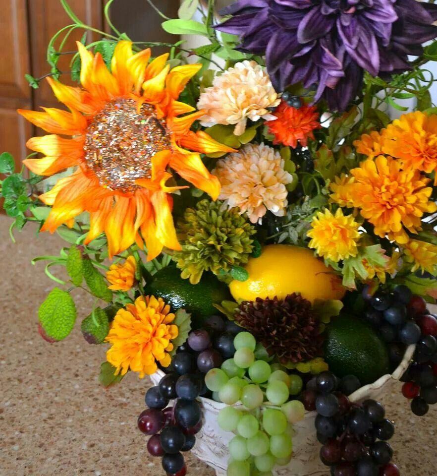 Chicago Silk Florist Fall Flower Fruit Arrangement By J Rochelle