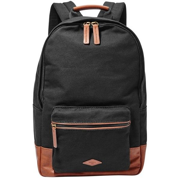 Men's Fossil 'Estate' Canvas Backpack (130 CAD) ❤ liked on Polyvore featuring men's fashion, men's bags, men's backpacks, black, mens canvas backpack and mens backpacks