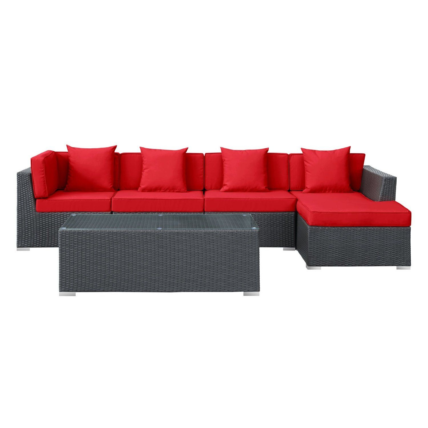 LexMod Signal 5 Piece Outdoor Wicker Patio Sectional Sofa Set