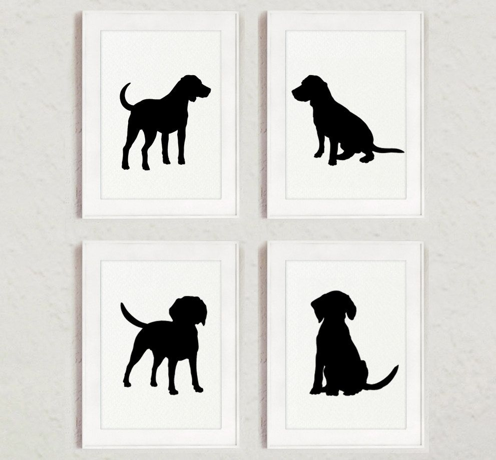 Black Dog Silhouette Set Of 4 Beagle Drawing Abstract Dogs