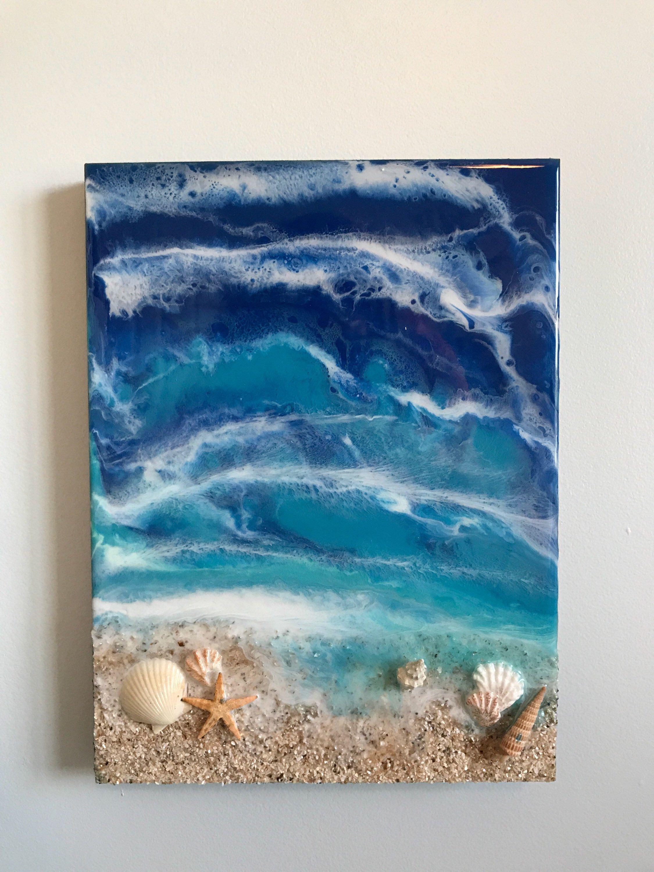 Resin Wall Art Ocean Art Coastal Living Home Decor Resin Wall