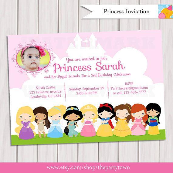 Princesa cumpleaos partido foto invitacin tarjeta de invitar a princesa cumpleaos partido foto invitacin tarjeta de stopboris Images