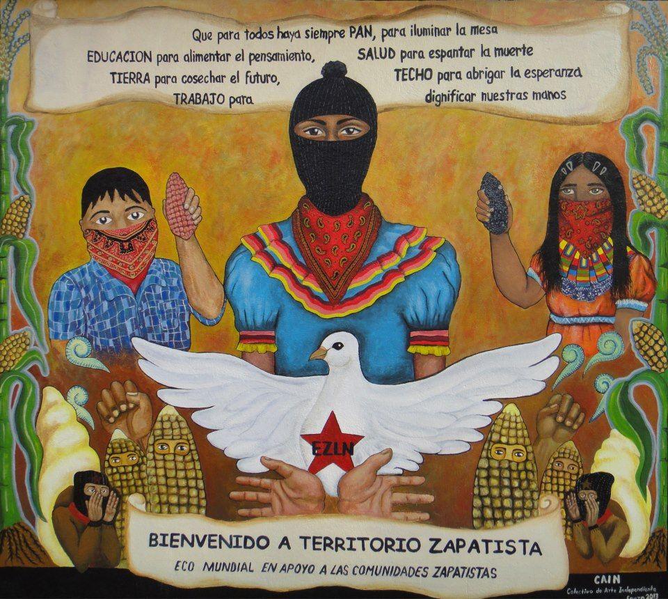 Mural 13 Baktum de la dignidad Y el mural también nos dice que la rebeldía y la resistencia es desde nuestra propia trinchera. Y el mural también nos dice que la rebeldía y la resistencia es la palabra. Y el mural también nos dice que la rebeldía y la resistencia es la organización. Y el mural también nos dice que la rebeldía y la resistencia es la defensa de nuestro maíz. Y el mural también nos dice que la rebeldía y la resistencia es la paz.