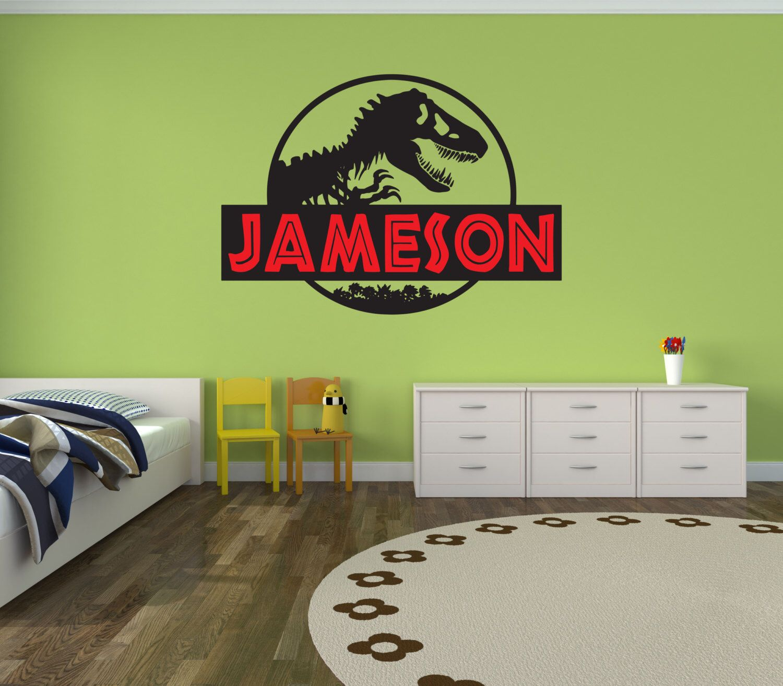 Jurassic World Jurassic Park Wall Decal Boy Name Girl Name Room - Custom vinyl wall decals dinosaur