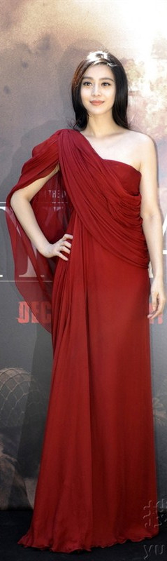 love the deep red colour and one shoulder style