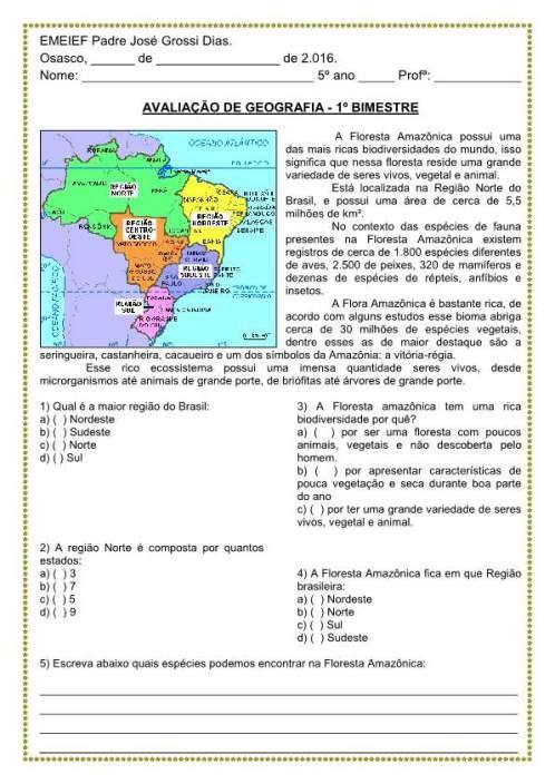 Avaliacao 5º Ano 1º Bimestre Historia Geografia Ciencias