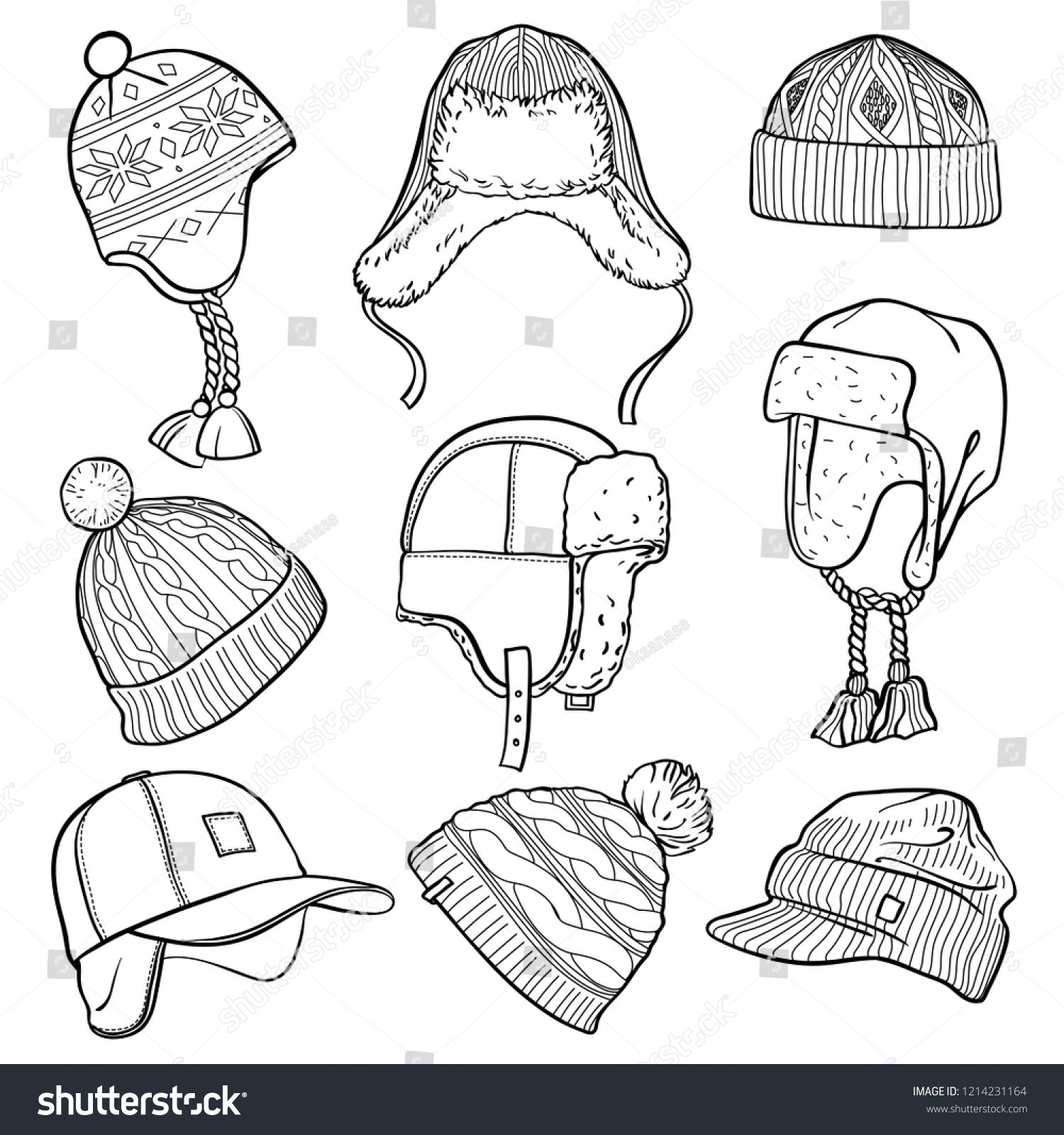 Set Of 9 Winter Caps And Hats Sketches Baseball Cap Ear Flap Hat Knitted Hats Hats With A Pom Pom Fisherman Beani Ear Flap Hats How To Draw Hands Sketches