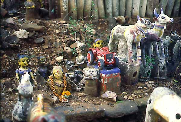 Hinduism Rituals: A votive offering to Aiyanar can represent almost anything.