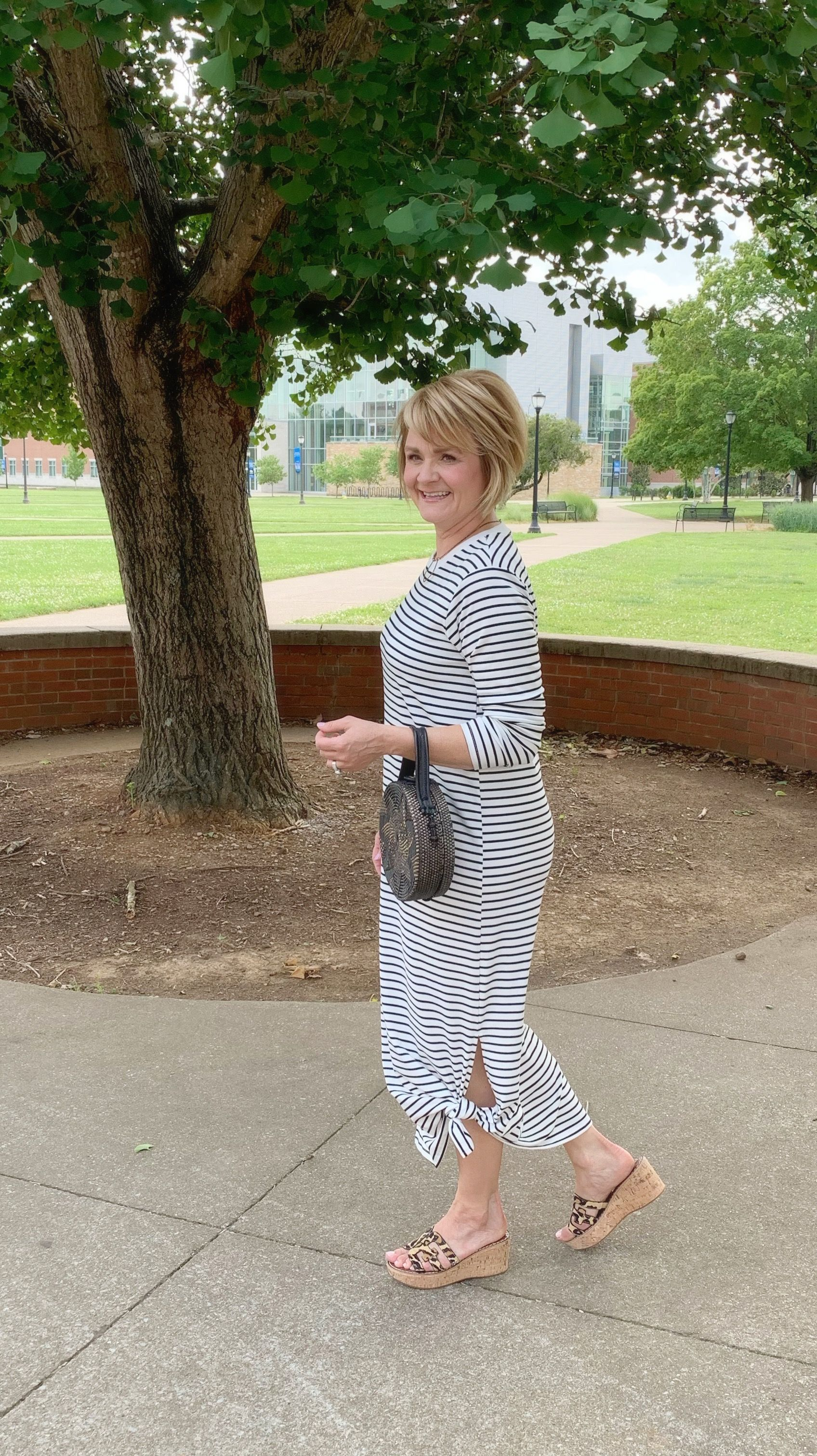 Casual Striped Dress With Sandals Summer Style For Women Over 40 Fashion For Women Over 40 Fashion Over 50 Fashion [ 3024 x 1696 Pixel ]