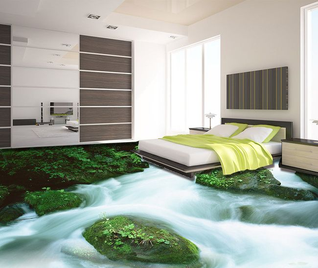 rev tement sol pvc vinyle autocollant personnalis paysage zen la cascade rev tement de sol 3d. Black Bedroom Furniture Sets. Home Design Ideas