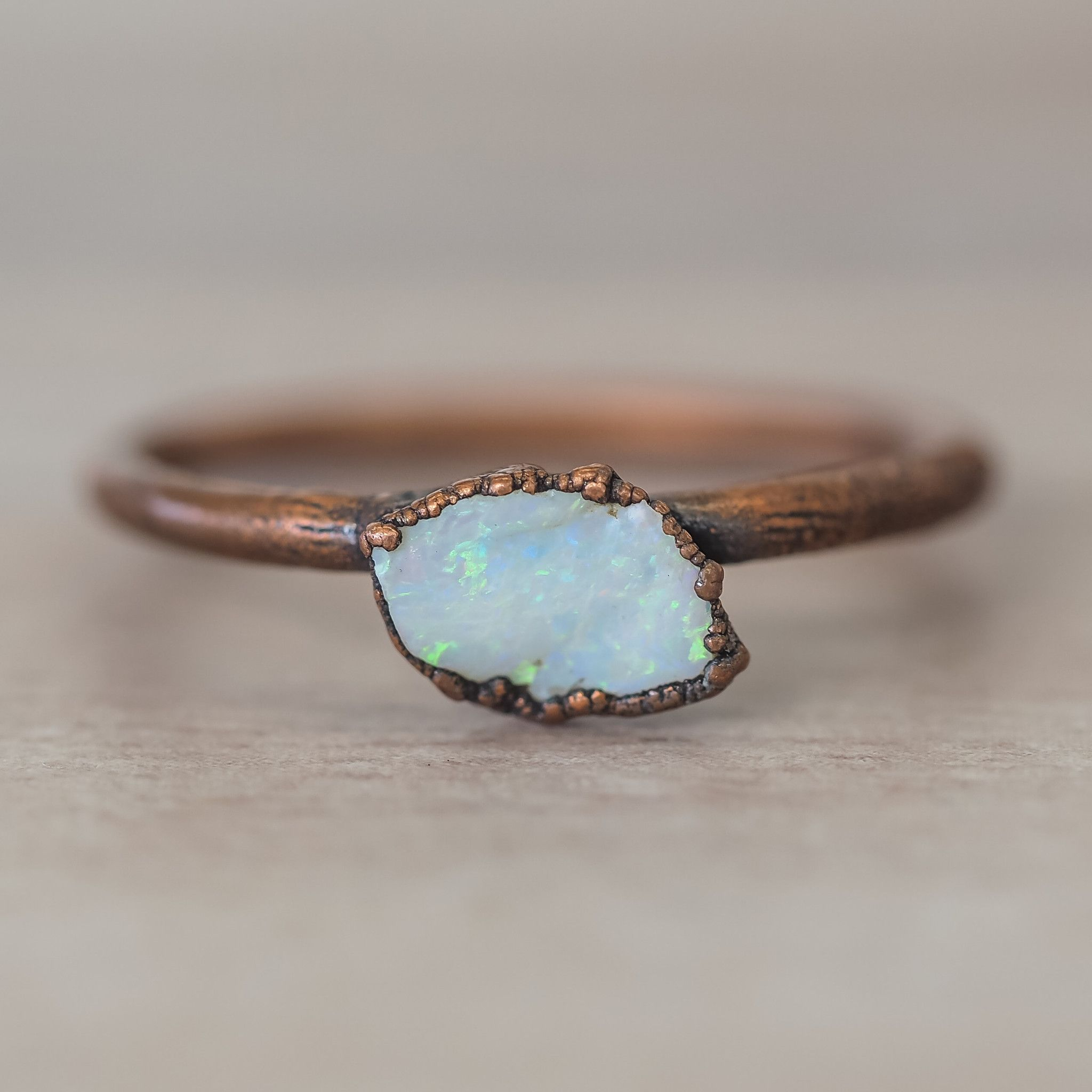 Australian Raw Opal and Copper Ring | Bohemian Gypsy Jewelry | Boho Festival Jewellery | Hippie Style Fashion | Indie and Harper