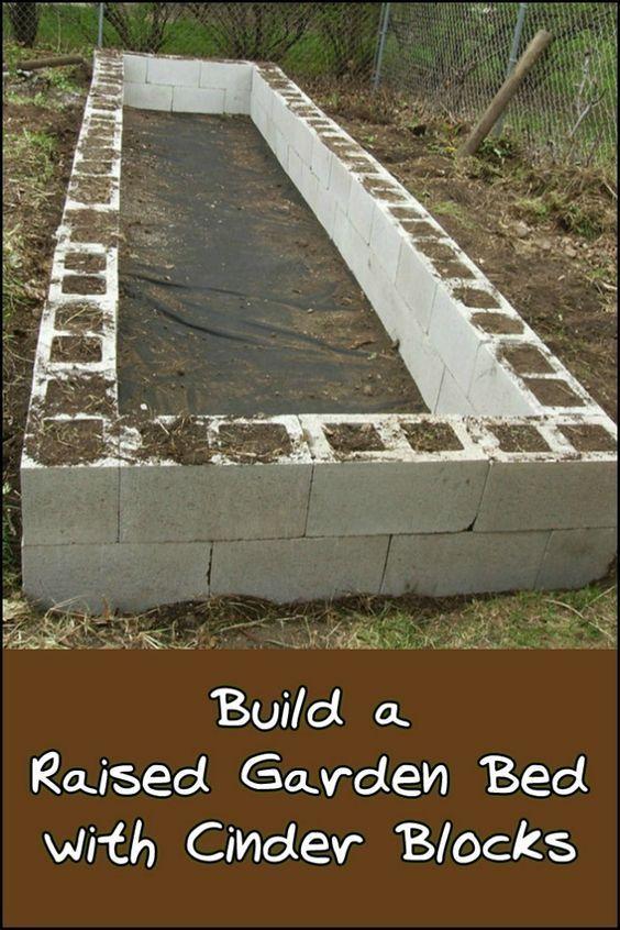 DIY Cinder Block Raised Garden Bed - - #Bed #block #cinder ...