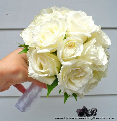White Rose Rounded Bridesmaid Bouquet Posy By Blossom Wedding Flowers