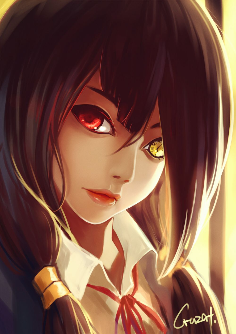 Anime Heterochromia Odd Eyes Red Yellow Tokisaki Kurumi Date A