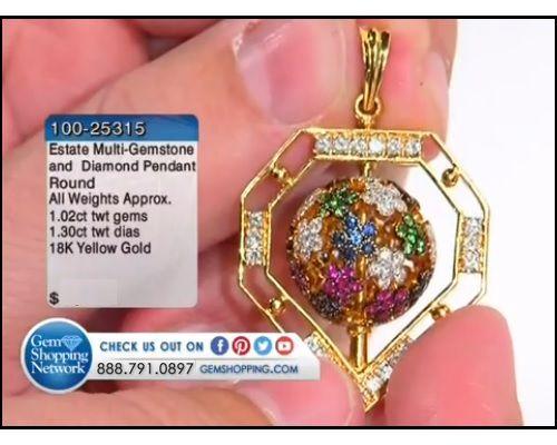 1.02 ctw Multi-Gemstone Round & 1.30 ctw Diamond Round 18K Yellow Gold Pendant
