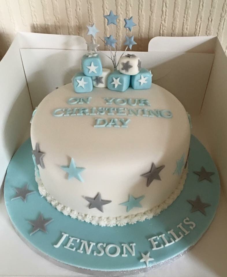 Boys simple single tier christening cake blue silver stars